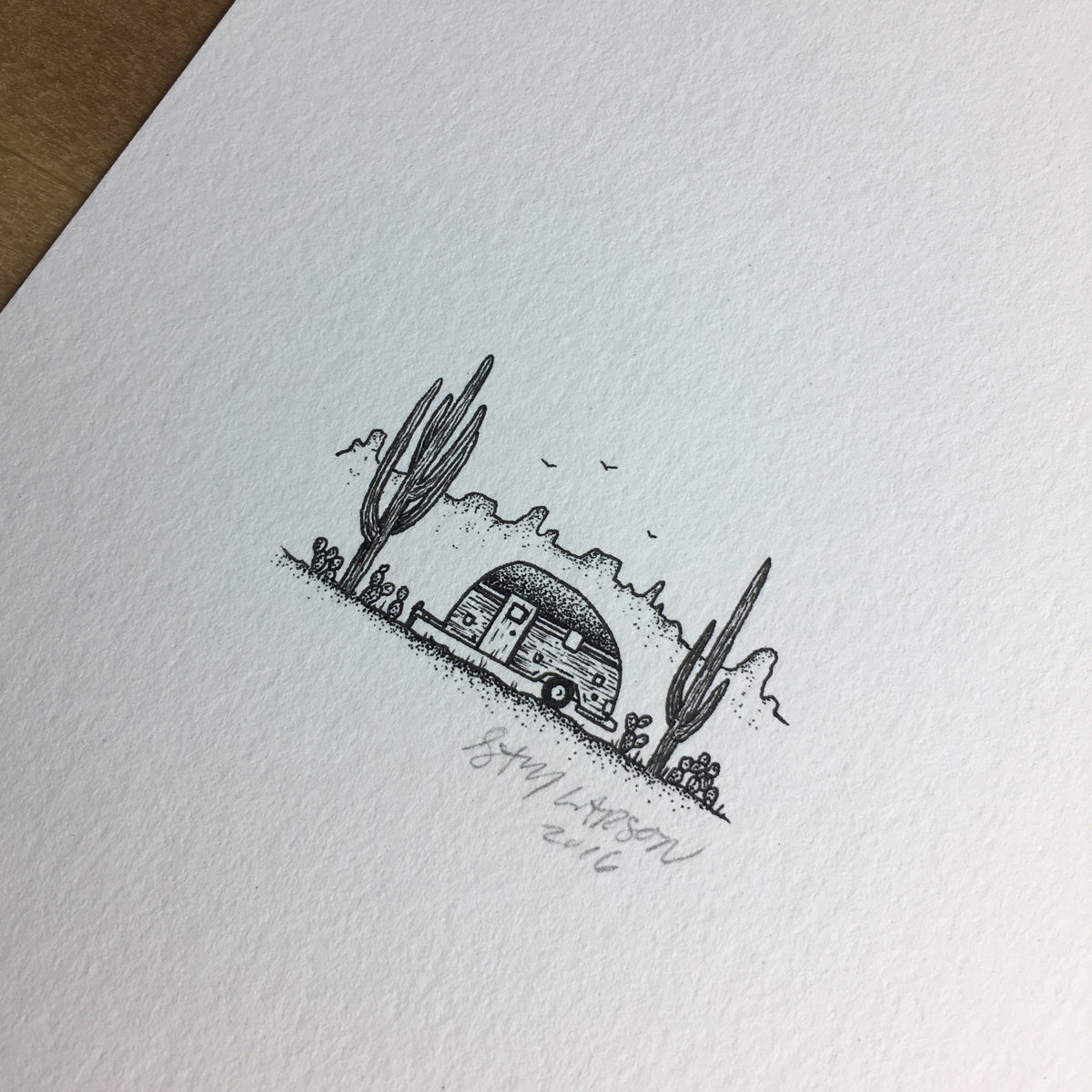 Desert Trailer - Original Illustration 5x7in