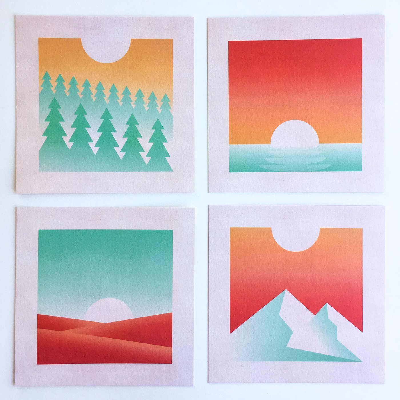 GEOMETRIC LANDSCAPE SERIES (ALL 4 PRINTS)