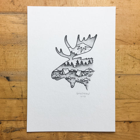 Fire Wolf - Original Illustration 5x7in