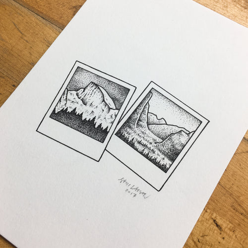 Yosemite Polaroids - Original Illustration 5x7in