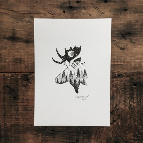 Midnight Moose - Signed Print #3