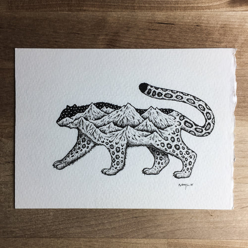 Snow Leopard - Original Illustration 7x5in