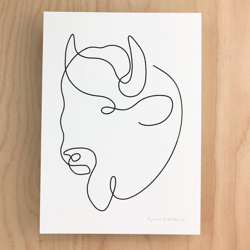 Mono Bison Head - Signed Print #130