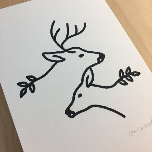 Together Deer - Signed Print #131