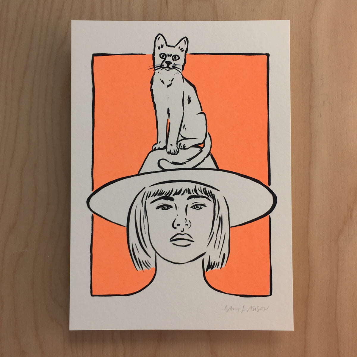 Cat Hat - Signed Print #154