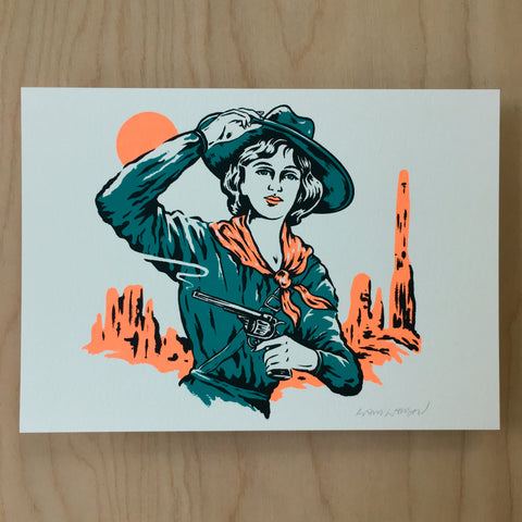 Cowgirl Stipple - Signed Print #156