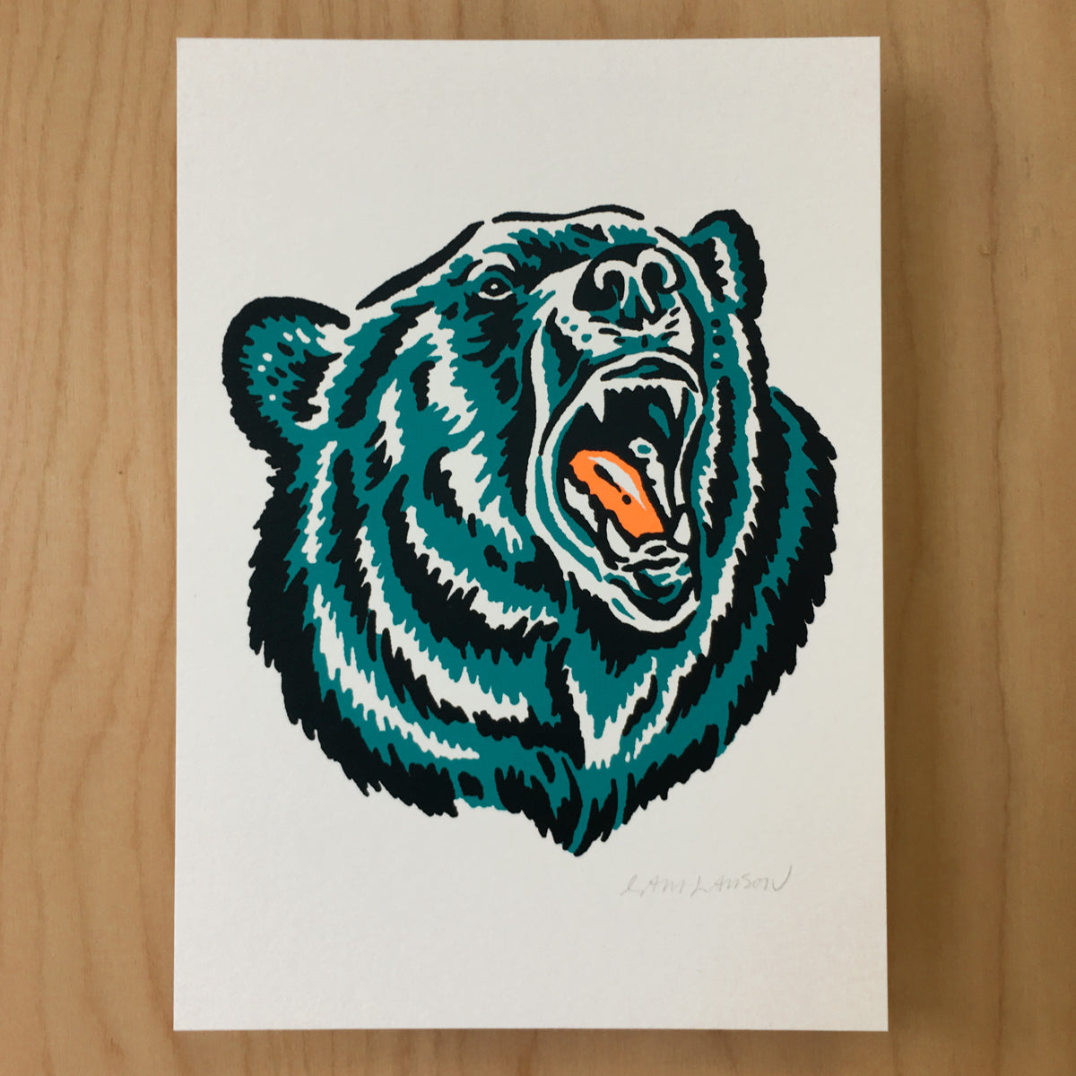 Growling Grizzly Signed Print #161
