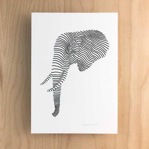 Lined Bull Elephant - Signed Print #140