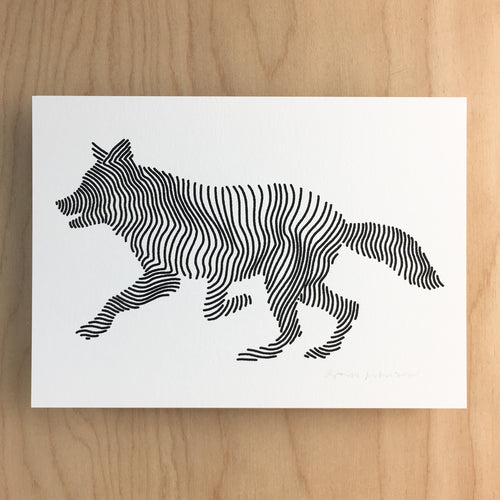 Lined Wolf - Signed Print #141