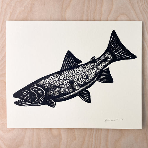 Stipple Trout - Signed 10x8in Print #236