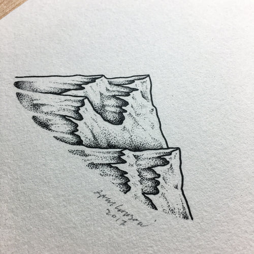 Stipple Peaks 2 - Original Illustration 5x7in