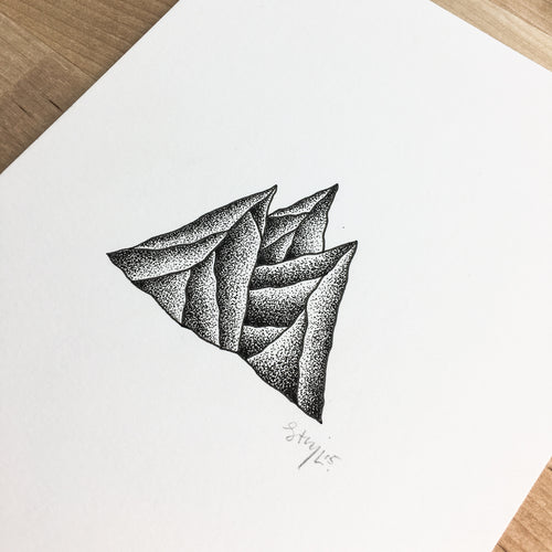 Stipple Peaks - Original Illustration 6x8in