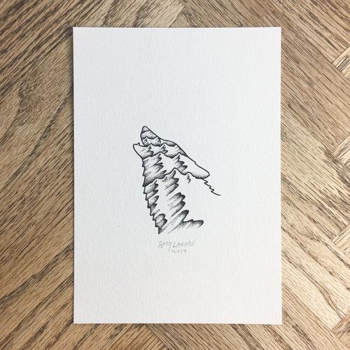 Wolf Mountain - Original Illustration 5x7in