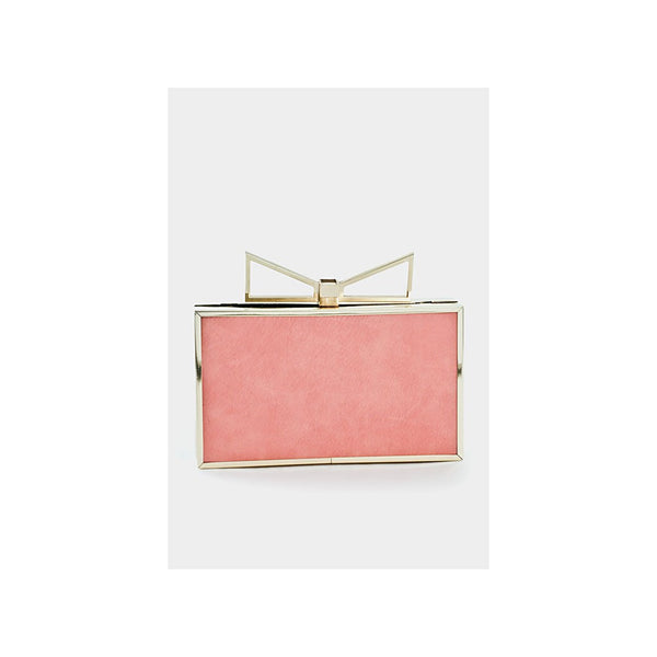 Pink & Gold Metal Cutout Bow Box Clutch - Urban Factory
