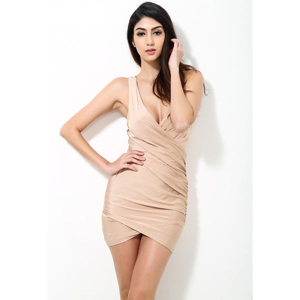 Solid Nude Fitted Party Dress - Urban Factory - 1