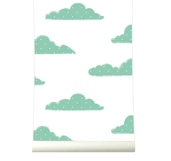 Behang Sweet Clouds green - roomblush