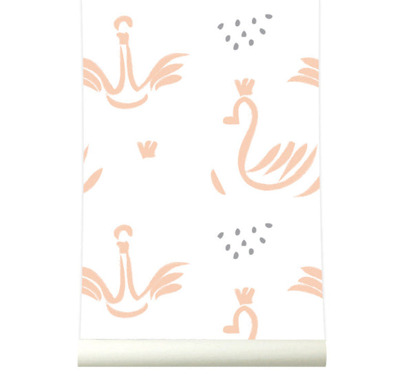 Behang Swans pink - roomblush