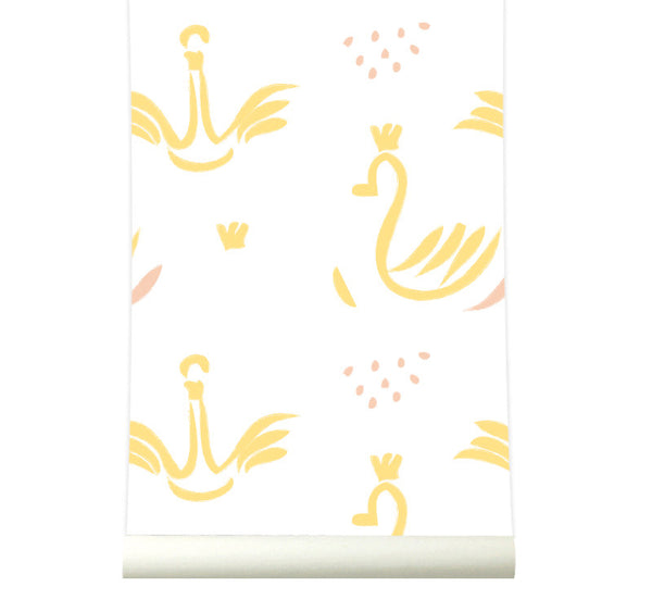 Behang Swans yellow - roomblush