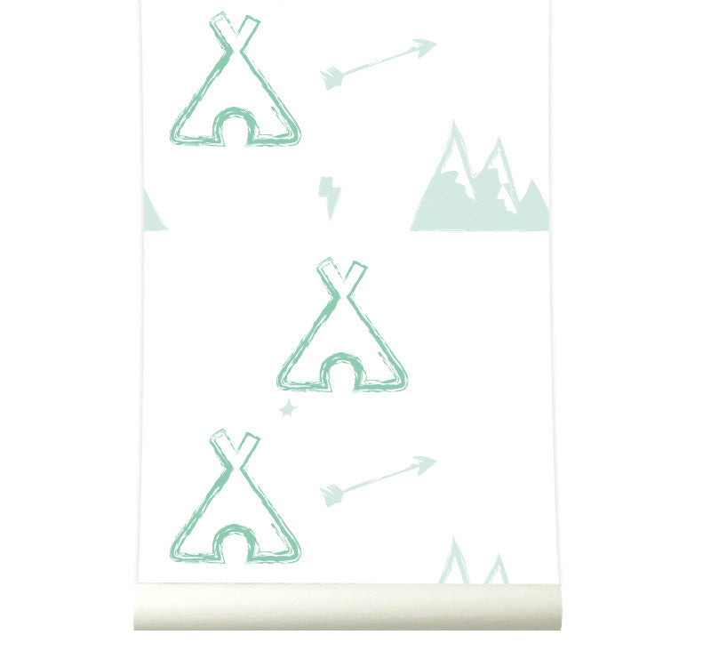 Behang Tipi pastelgreen - roomblush