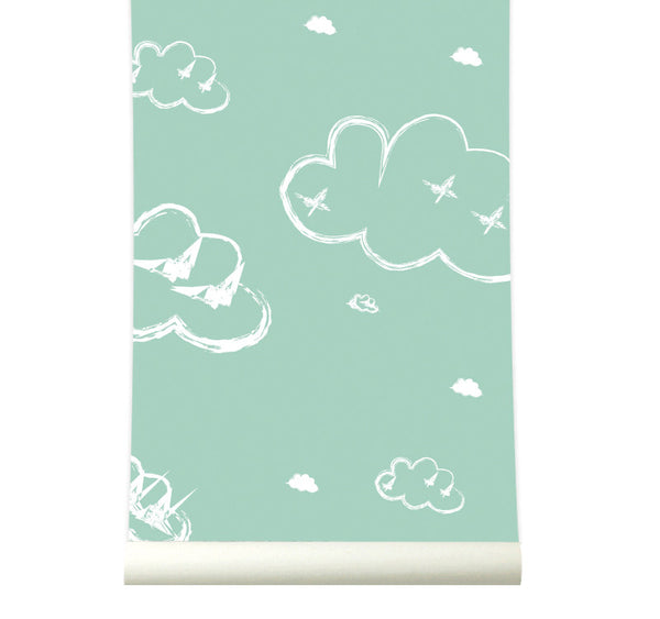 Behang Rough Clouds pastelgreen - roomblush