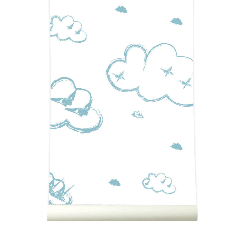Behang Rough Clouds softblue - roomblush