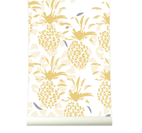 Behang Pineapple yellow