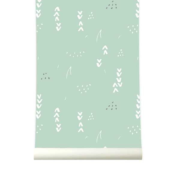 Behang Floral pastelgreen - roomblush