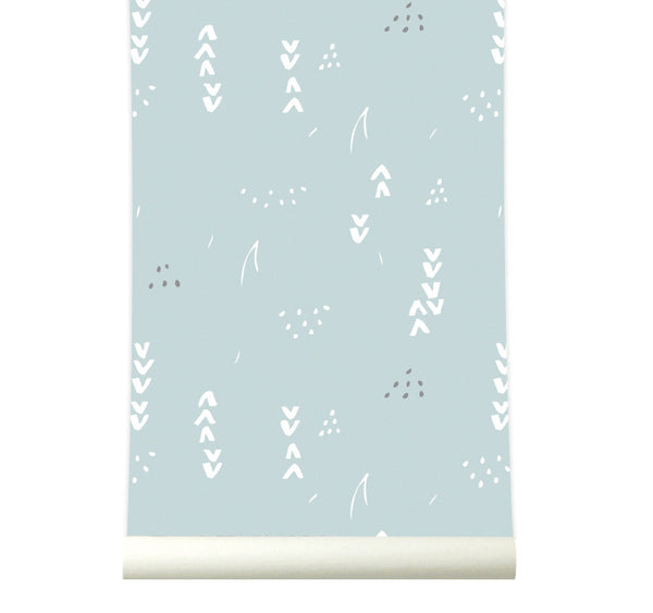 Behang Floral softblue - roomblush