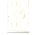 Behang Floral white-yellow