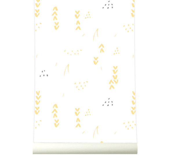 Behang Floral white-yellow - roomblush