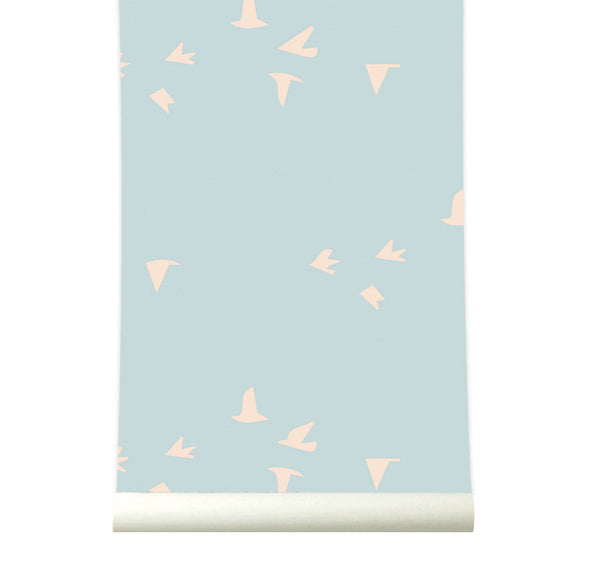 Behang fly with me softblue - roomblush