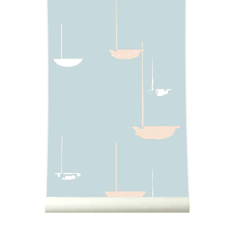 Behang go with the flow soft blue - roomblush