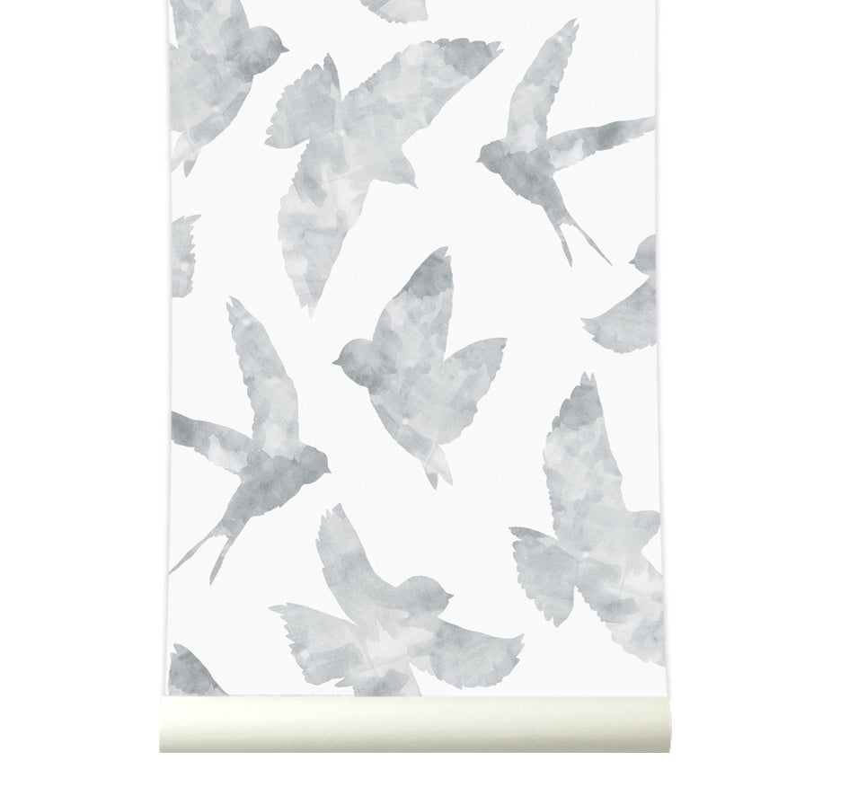Behang Swallows lightgrey - roomblush
