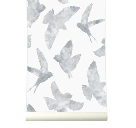 Behang Swallows lightgrey