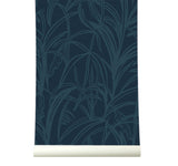 Behang Palmleaves darkblue - roomblush