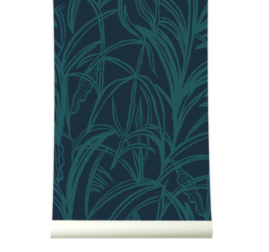 Behang Palmleaves greenblue - roomblush
