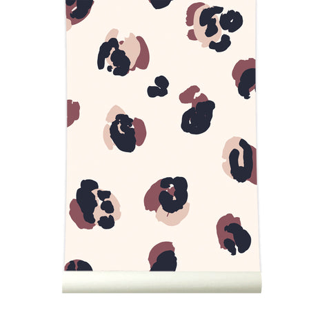 Behang Leopard Bordeaux-Nude