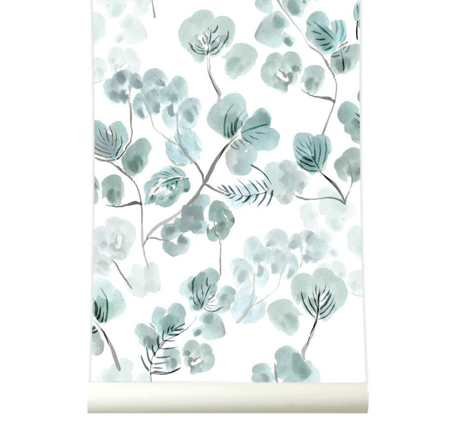 Behang Eucalyptus Bluegreen