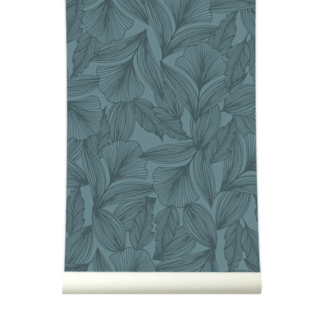 Behang Flora Blue