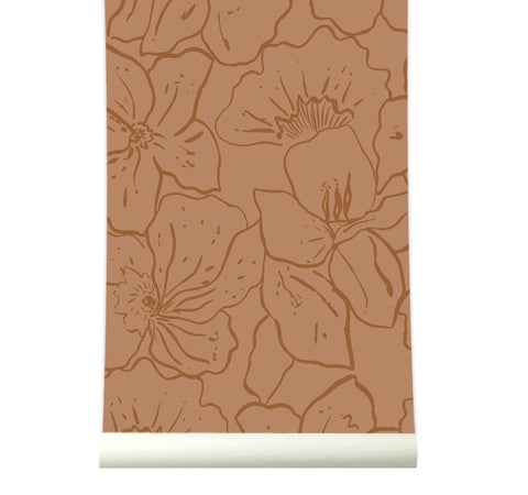 Behang Wild Flowers Terracotta