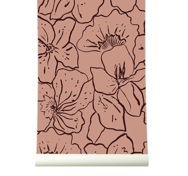 Behang Wild Flowers Pink