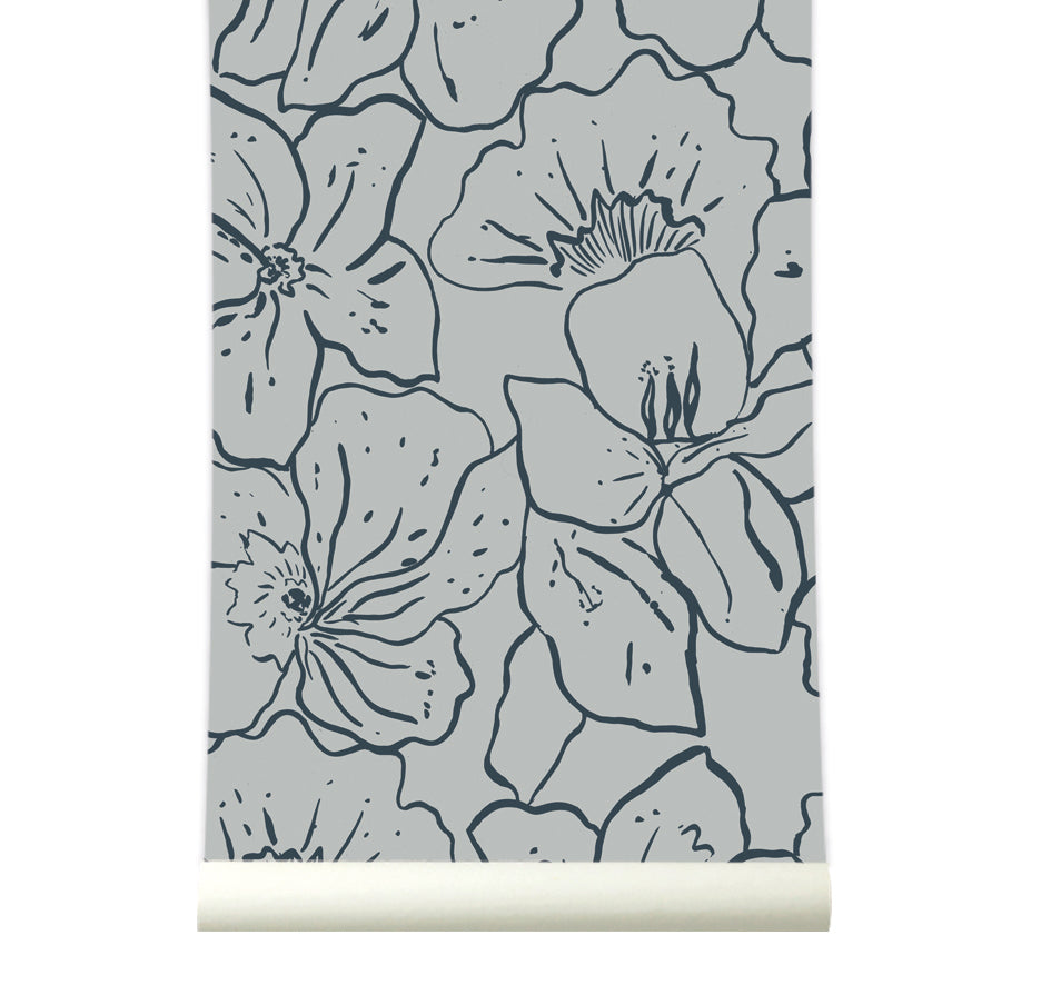 Behang Wild Flowers Grey