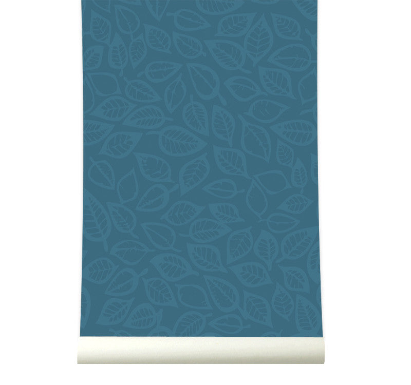 Behang Leavesvaria Petrolblue - roomblush