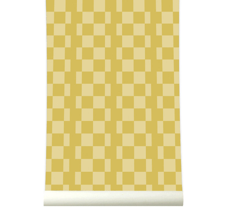 Behang Retrosquare Mustard - roomblush