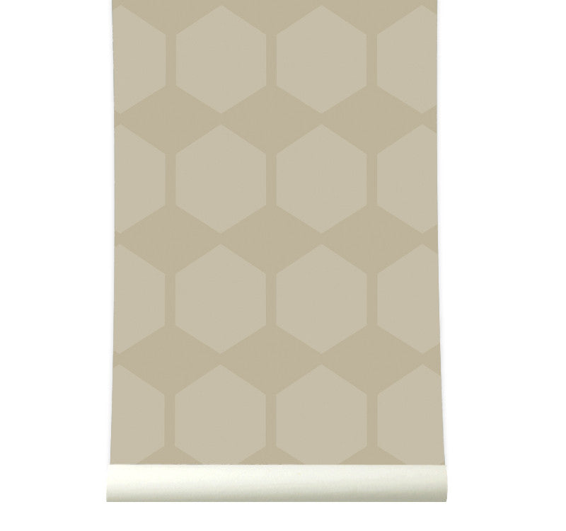 Behang Hexarow Beige - roomblush