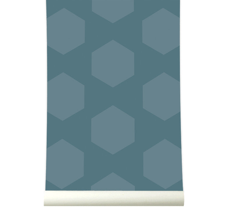 Behang Hexamix Petrolblue - roomblush