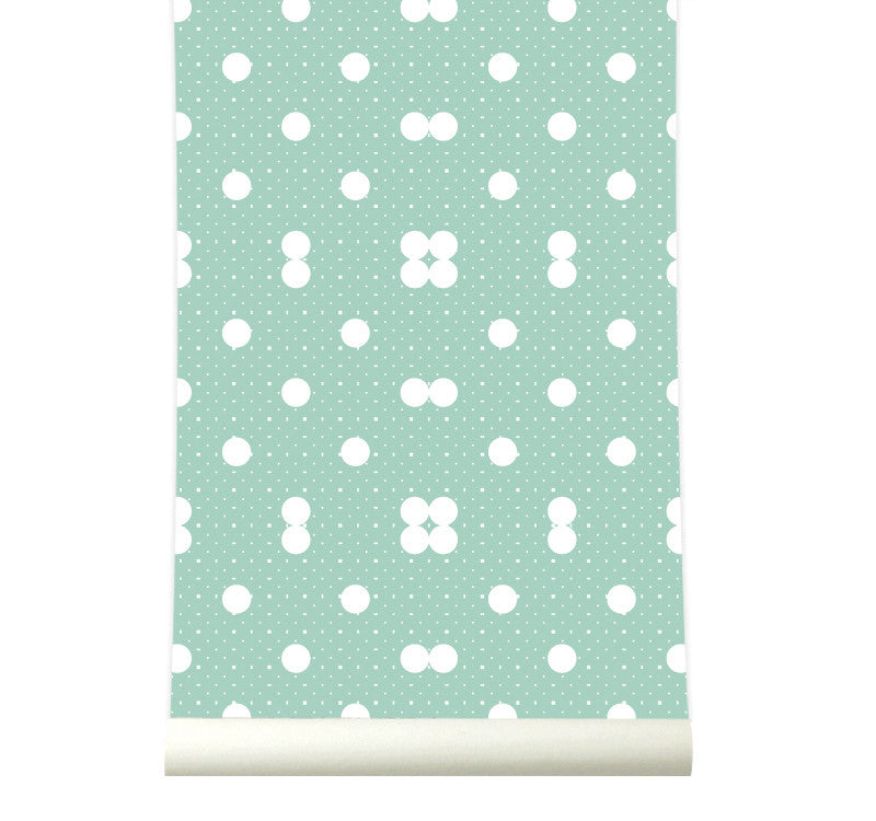 Behang Dots Pastelgreen