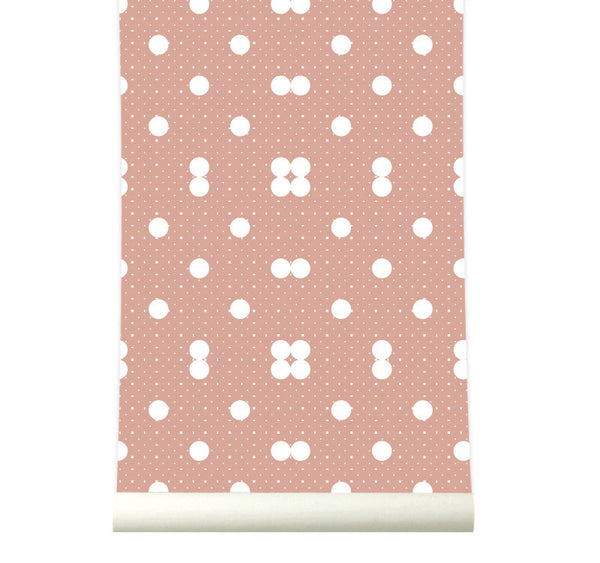 Behang Dots Warmpink - roomblush