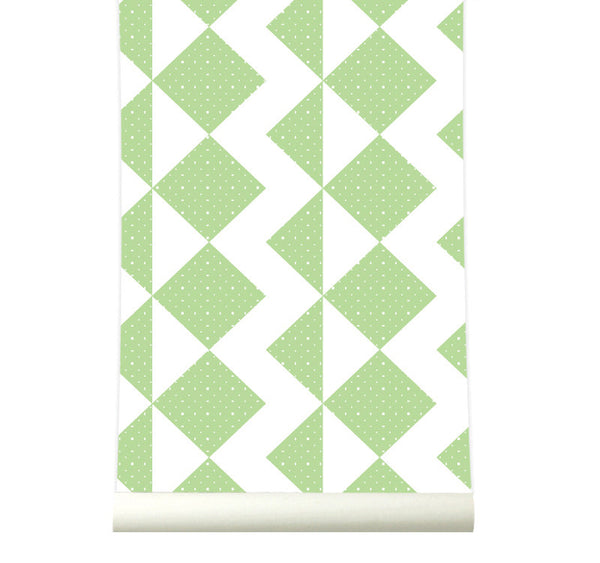 Behang Zigzag Freshgreen - roomblush