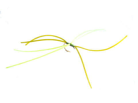 Olive and chartreuse 8 leg Apps worm (Barbless)